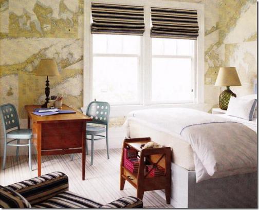 world map wallpaper in bedroom designed by Steven Gambrel via 504x409