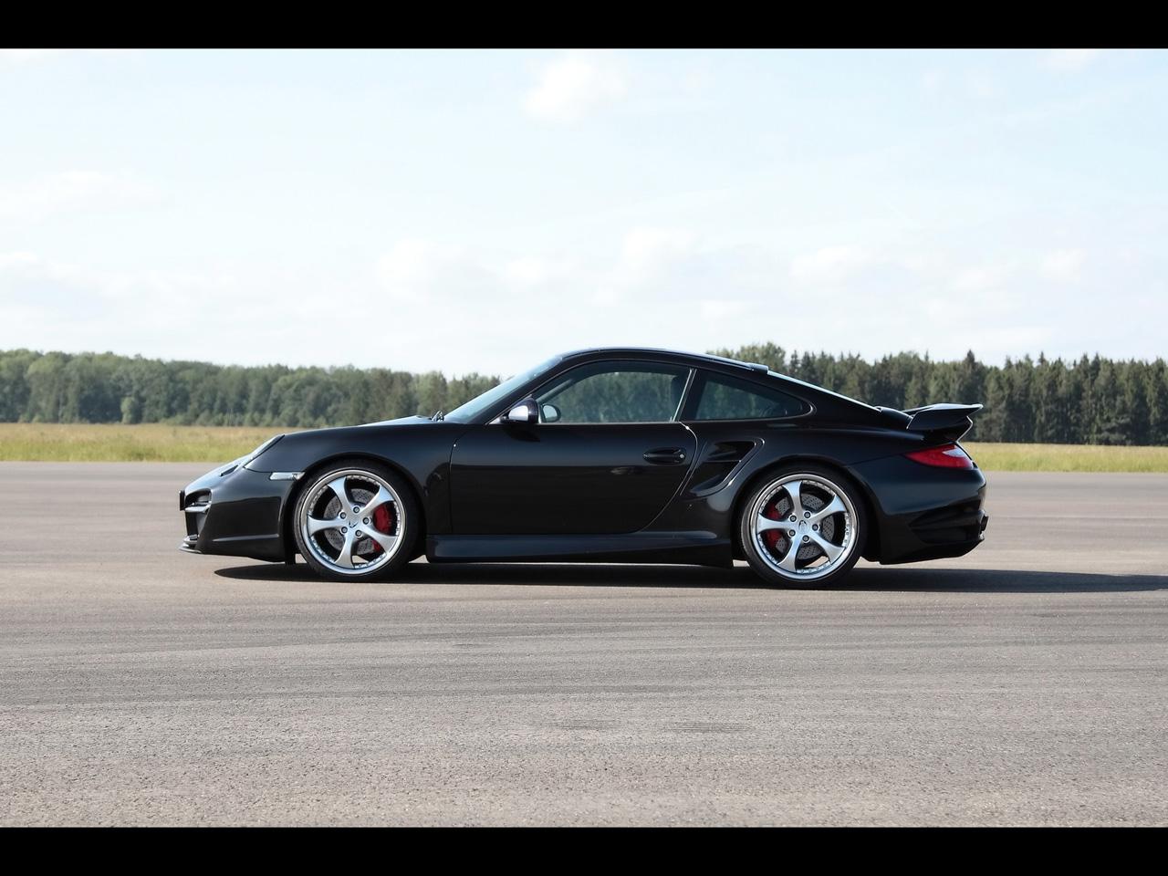 2010 techart porsche 911 turbo aerodynamic kit ii black side - 911 Porsche Black