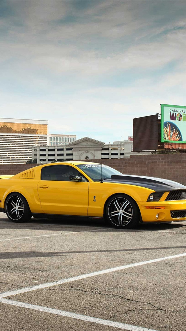 Ford Mustang GT500 yellow car iPhone 5 wallpaper iPhone 5s Wallpaper 640x1136