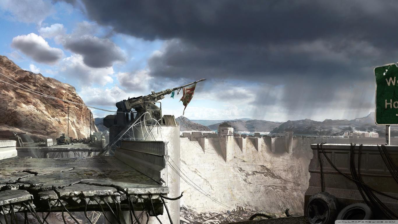 Fallout New Vegas Hoover Dam Concept Art 4K HD Desktop 1366x768