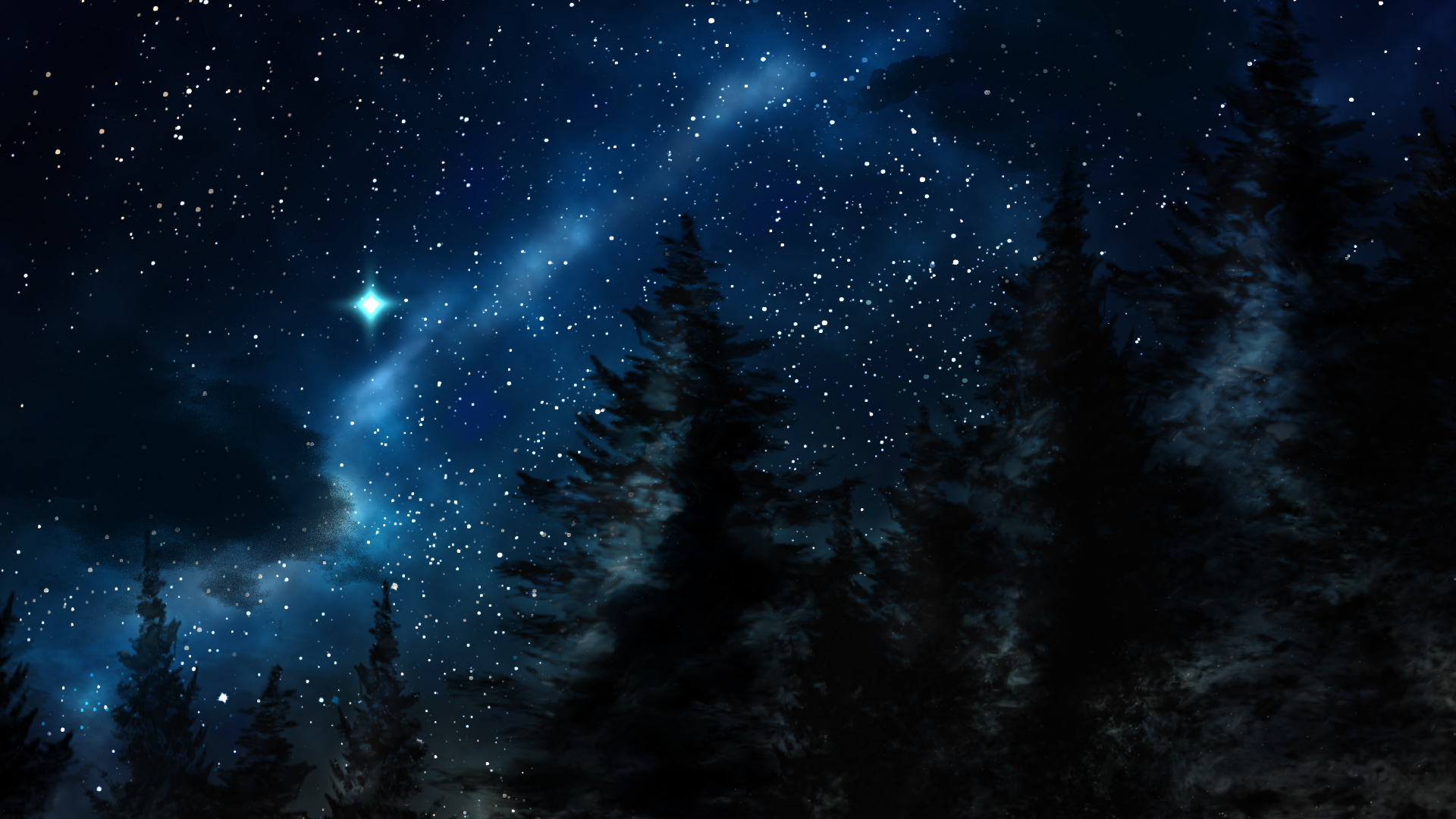 Beautiful Night Sky Scenery Winter sky by vronde 1920x1080