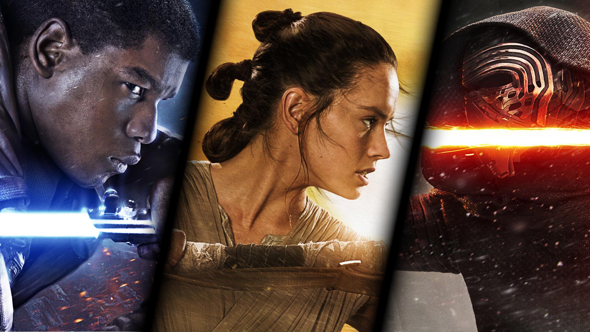 Finn Rey and Kylo Ren in Star Wars The Force Awakens wallpaper 1280x800
