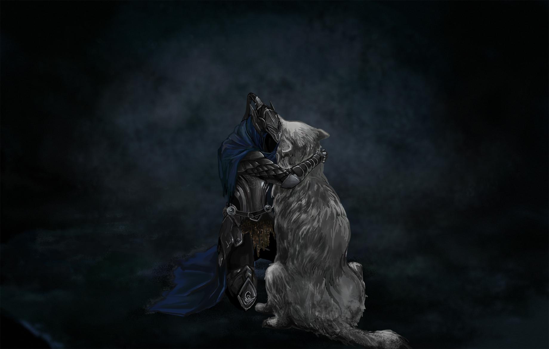 Dark Souls Knight Medieval Wolf Hug Embrace dark fantasy wallpaper 1840x1171