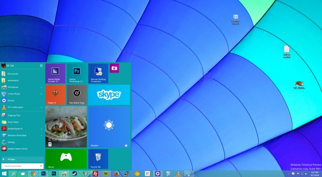 Windows 10 Technical Preview turquoise wallpaper and Start menu 640x353