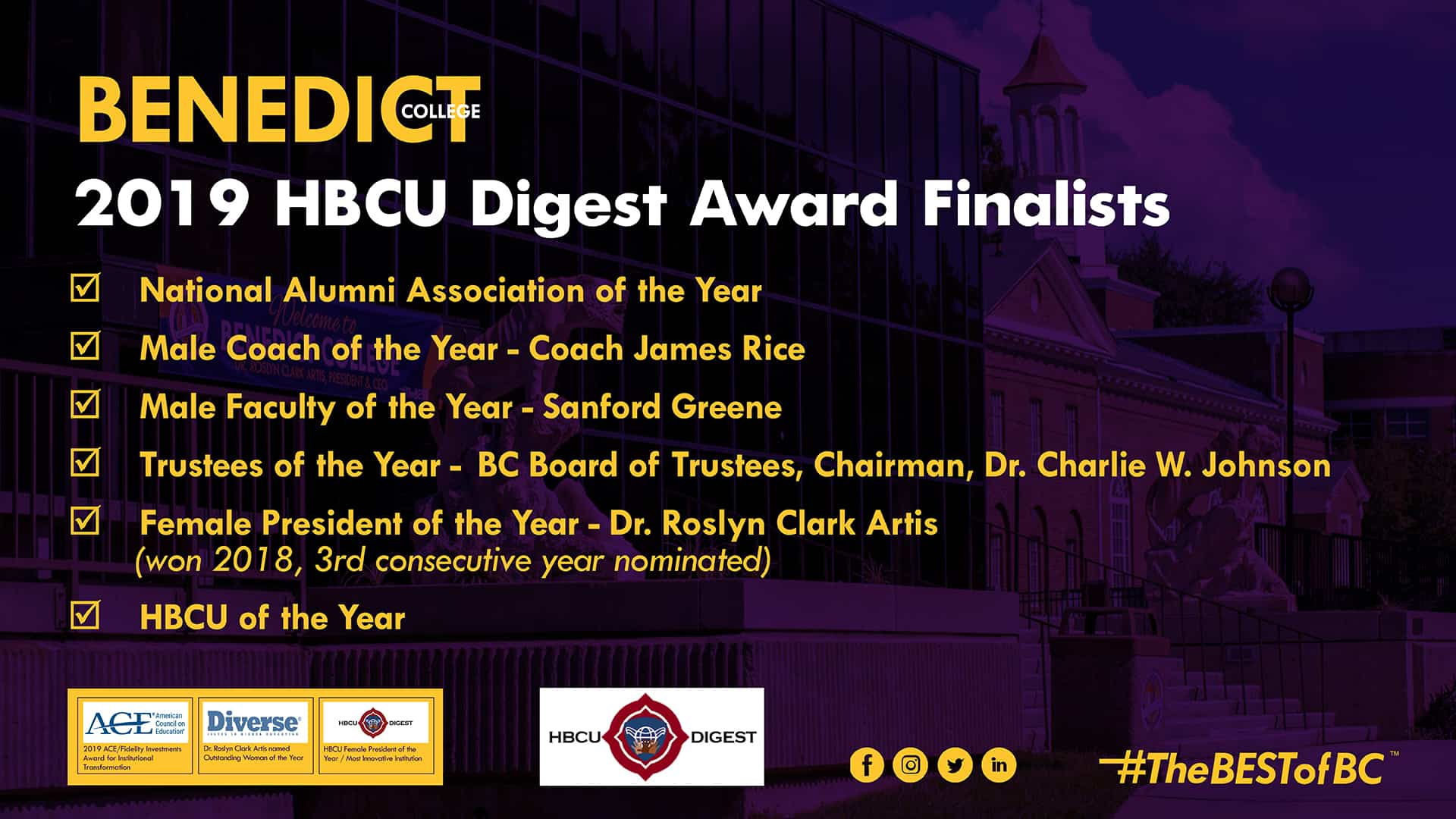 2019 HBCU Digest Award Finalists   Benedict College Columbia 1920x1080