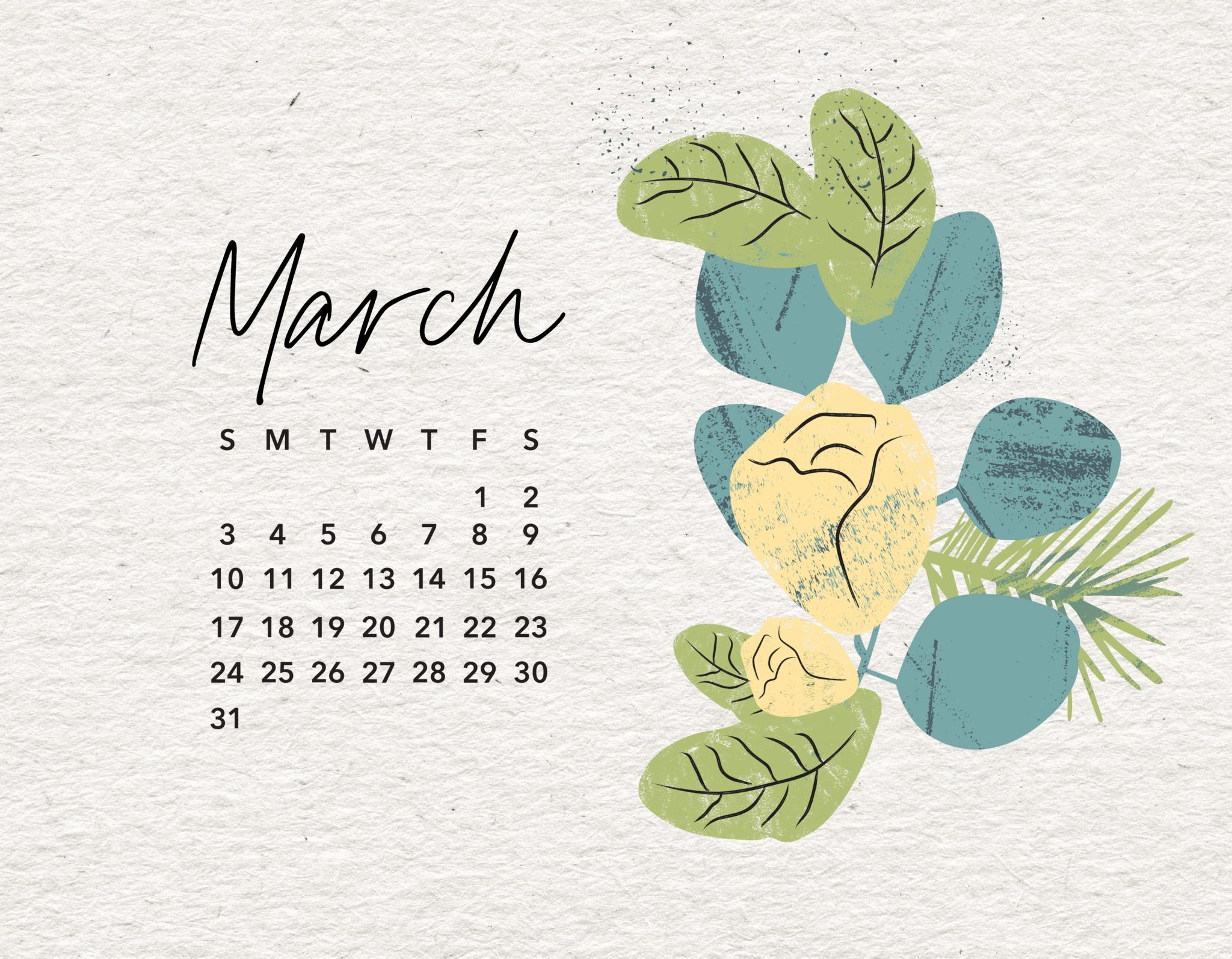 March 2019 Calendar Wallpaper 2048x1594