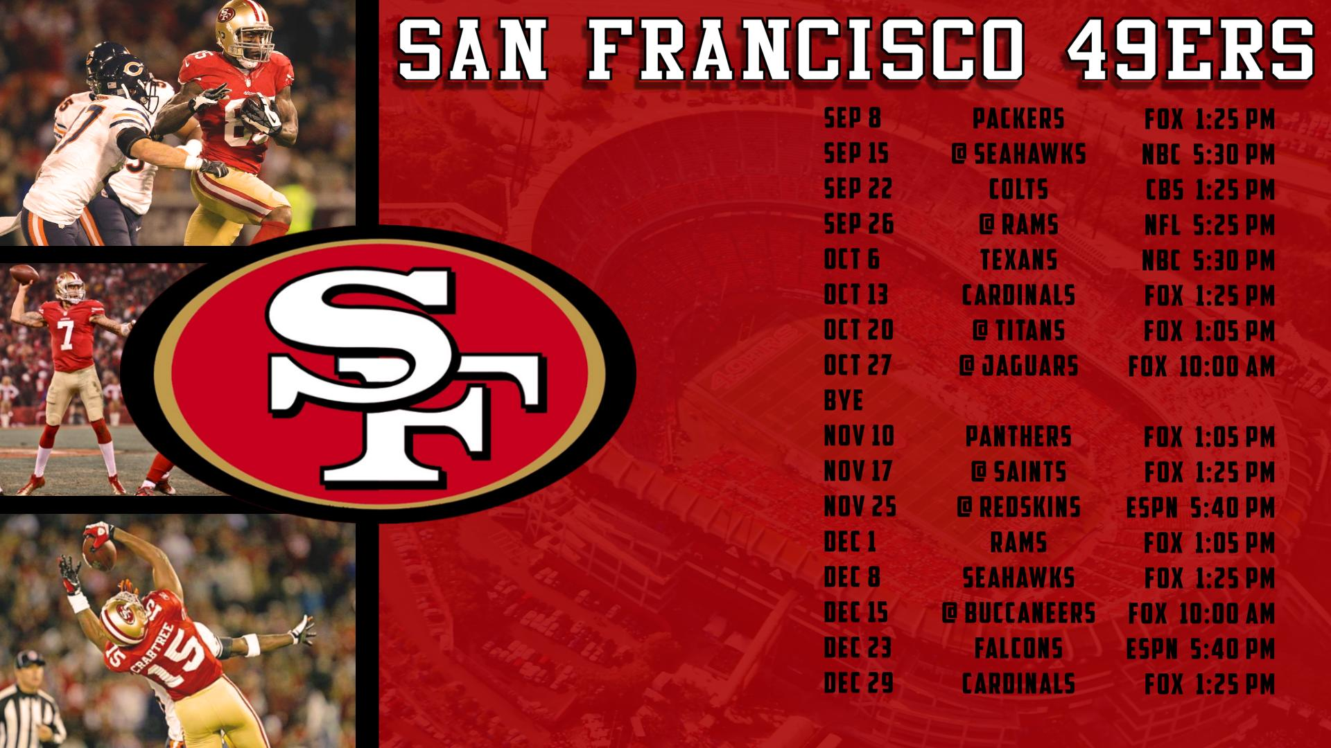 photograph about 49ers Printable Schedule called 67+] 49ers 2015 Program Wallpaper upon WallpaperSafari