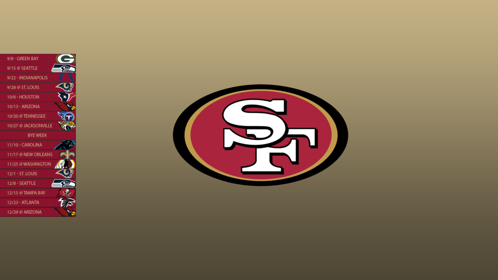 San Francisco 49ers 2013 Schedule Wallpaper by SevenwithaT on 1024x576