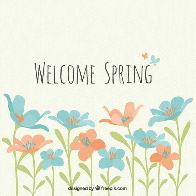 Welcome Spring flowers Vector Download 626x626