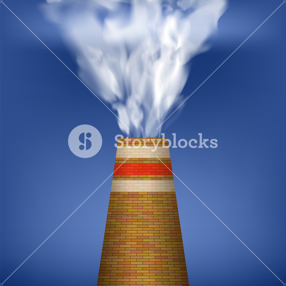 Factory Chimney and Smoke on Blue Sky Background Environmental 1000x1000
