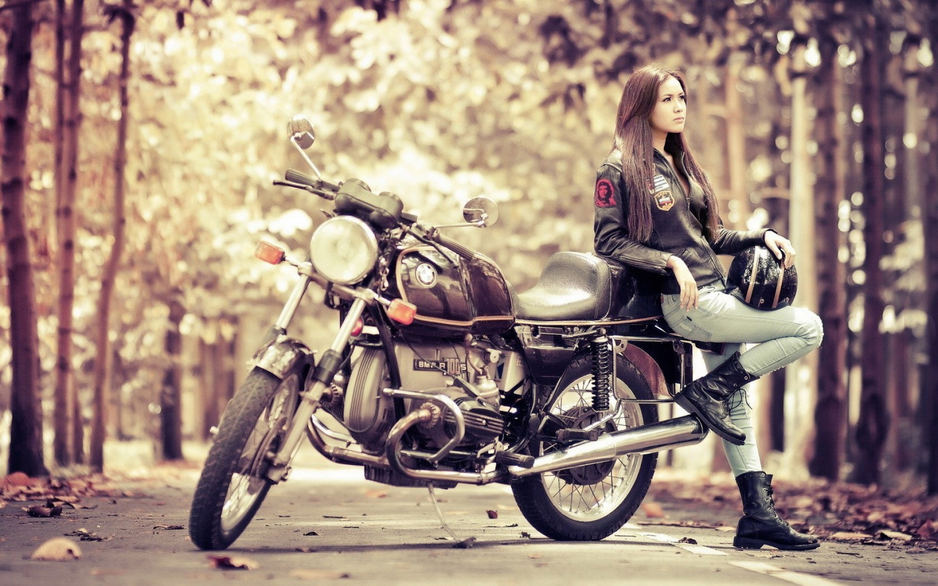 Girl Motorcycle BMW R100S HD Wallpapers 1920x1200