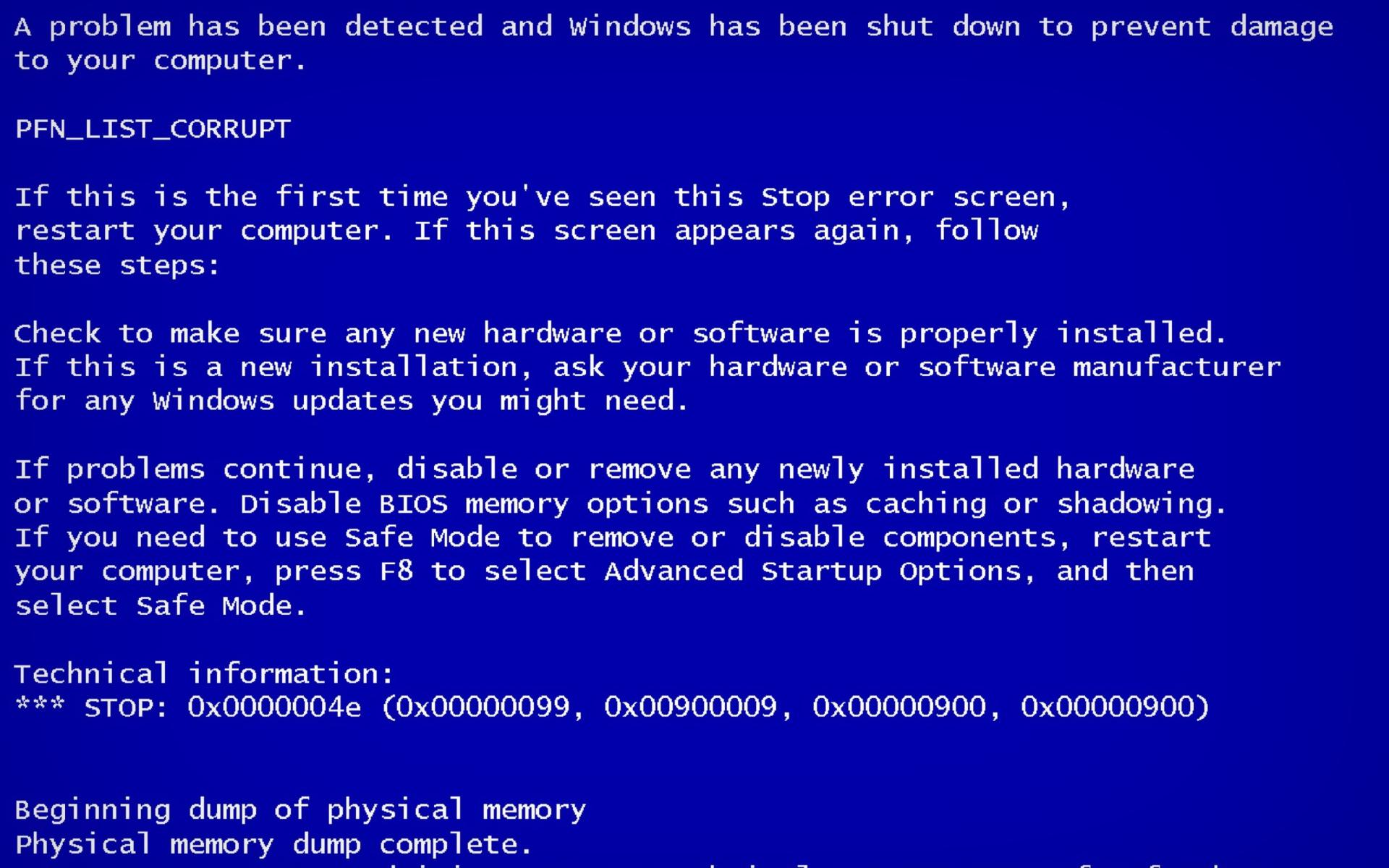 Blue Screen of Death Wallpaper for Widescreen Desktop PC 1920x1080 1920x1200