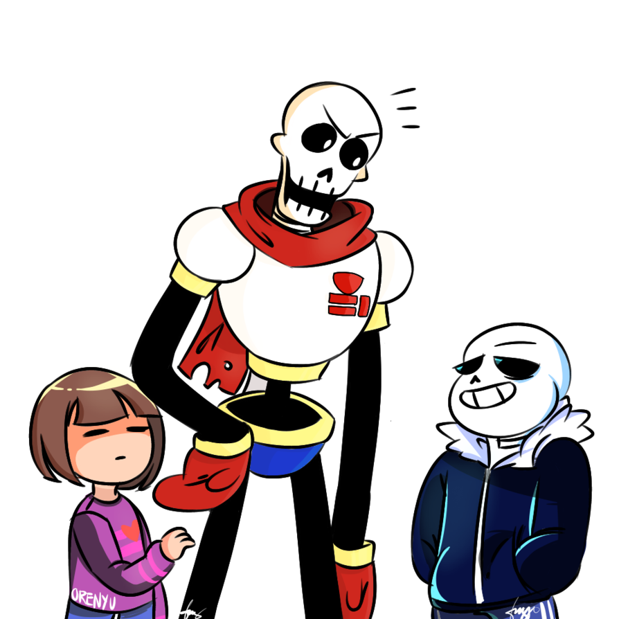 Undertale Frisk Papyrus and Sans by Orenyu 894x894