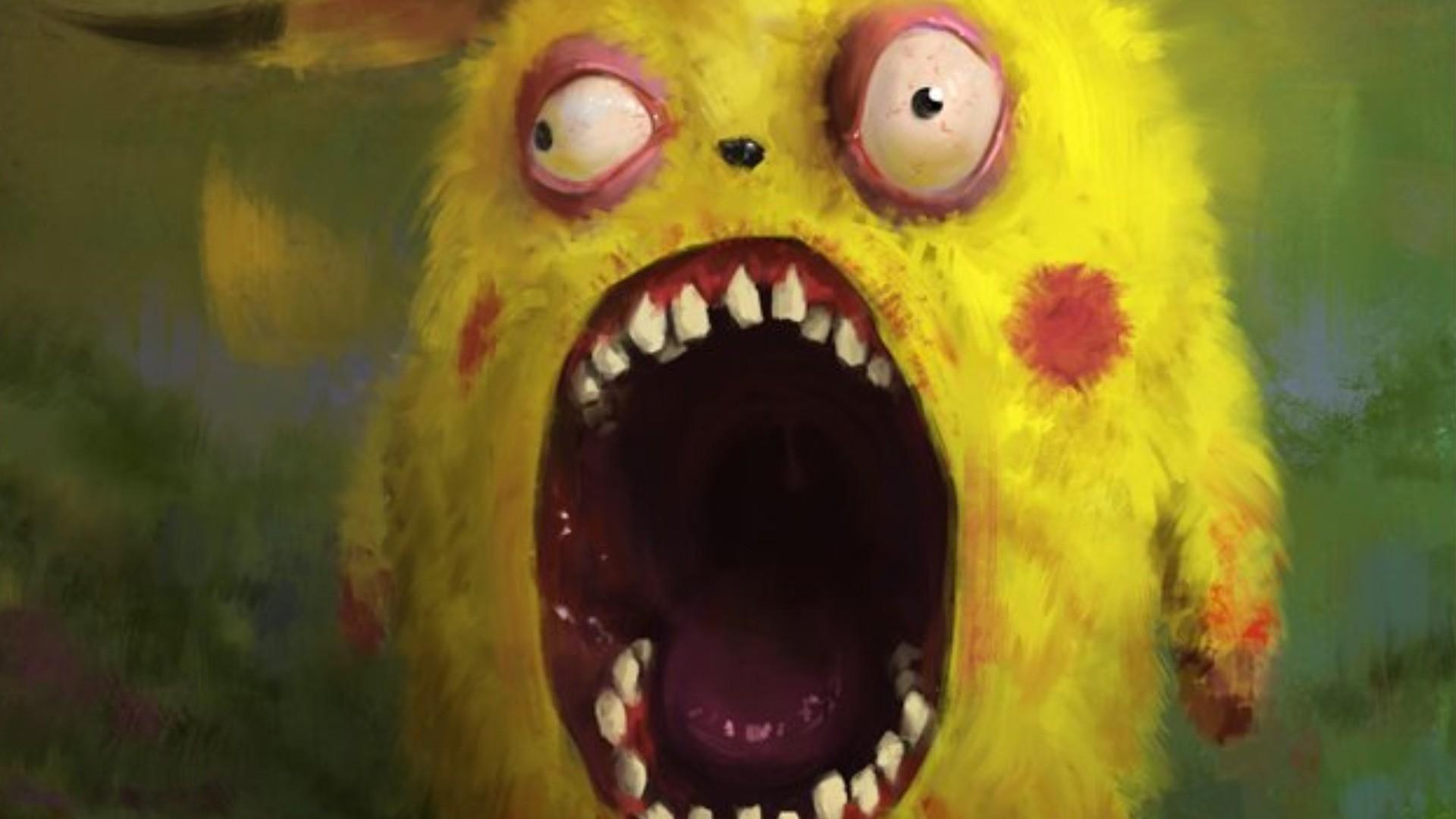 1920x1080 zombies pikachu fantasy art artwork 1920x1080 wallpaper Art 1920x1080