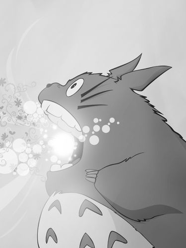 My Neighbor Totoro sparkly inhaling screensaver for Amazon Kindle 3 375x500