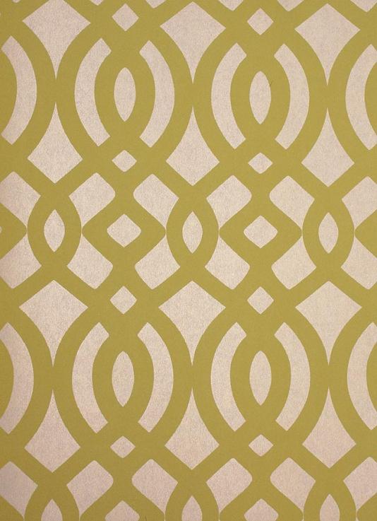 Du Barry Wallpaper Ogee trellis wallpaper in yellow on a beige mica 534x737
