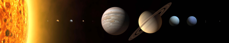 Sun Solar System planets Mars Earth Jupiter Saturn Pluto Neptune 5760x1080