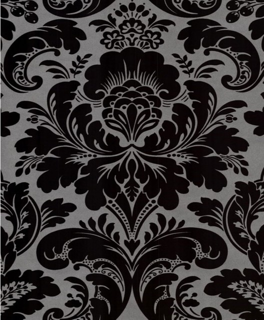 Free Download Damask Wallpaper Black Grey Silver Traditional
