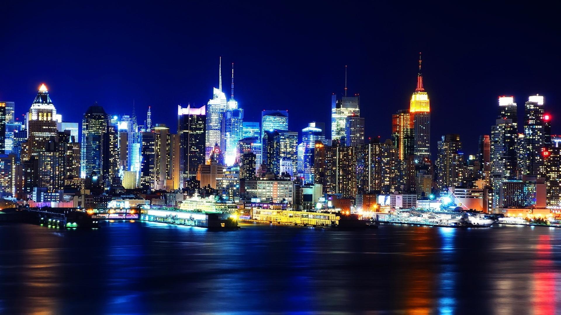 New York City at Night Wallpaper HD wallpaper background 1920x1080
