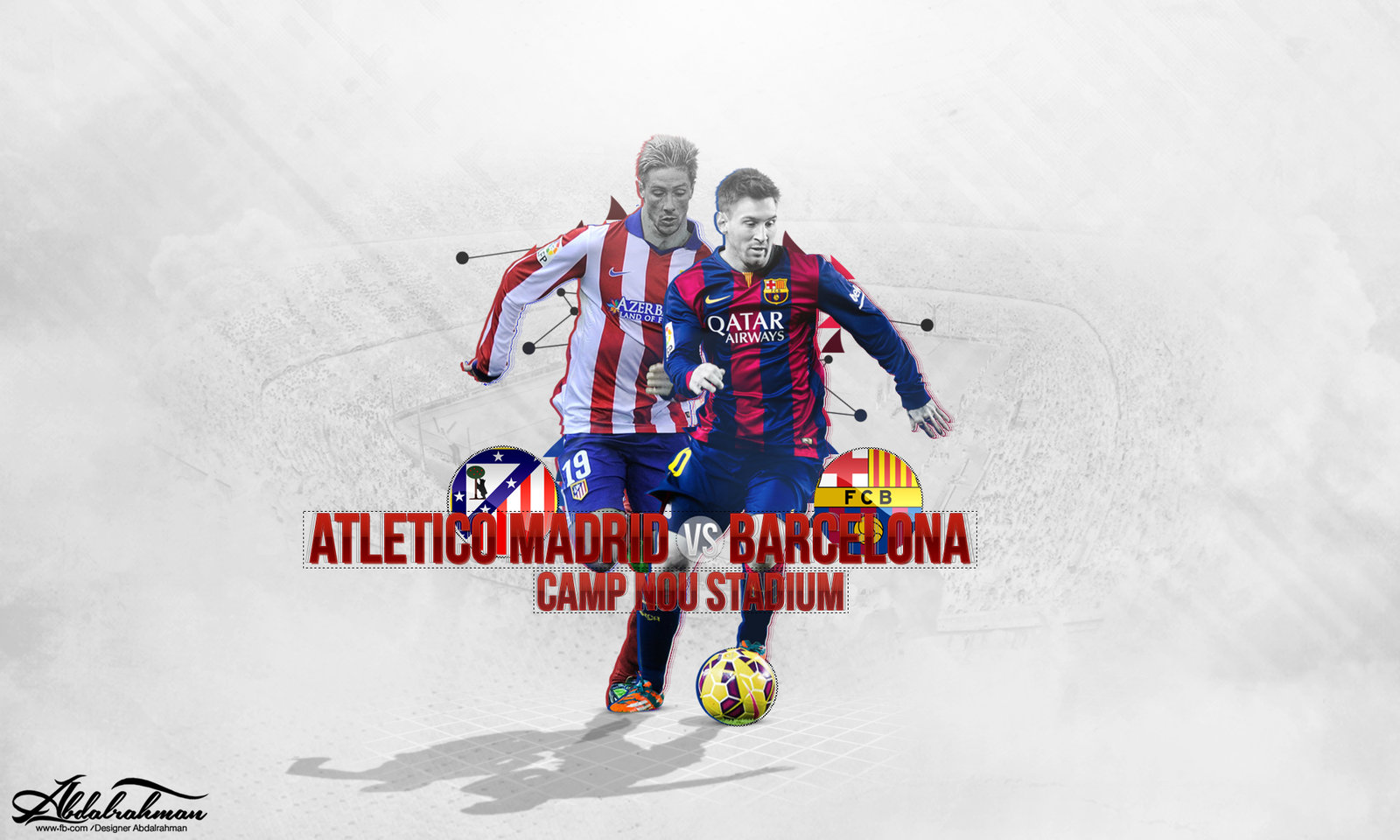 wallpaper atletico madrid vs barcelona by Designer Abdalrahman on 1600x960