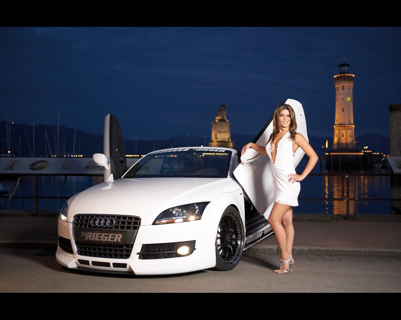 girls and cadillac car wallpapers girls and rieger cars wallpapers 1280x1024