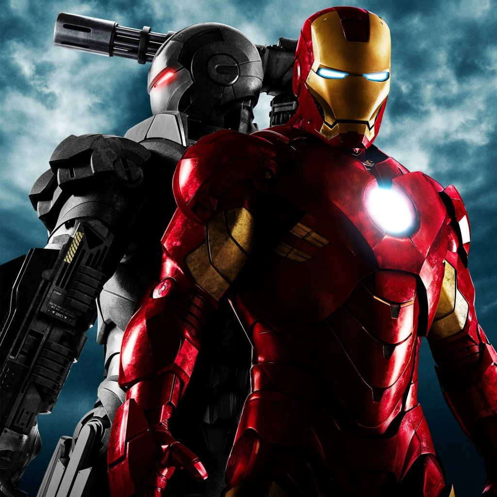 Iron Man 2 movie iPad wallpaper with both Iron Man and War Machine 1024x1024