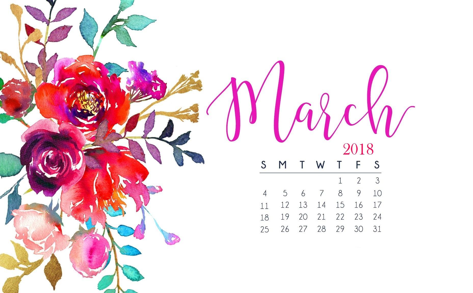 March 2018 Calendar Wallpaper Calendar 2018 1856x1151