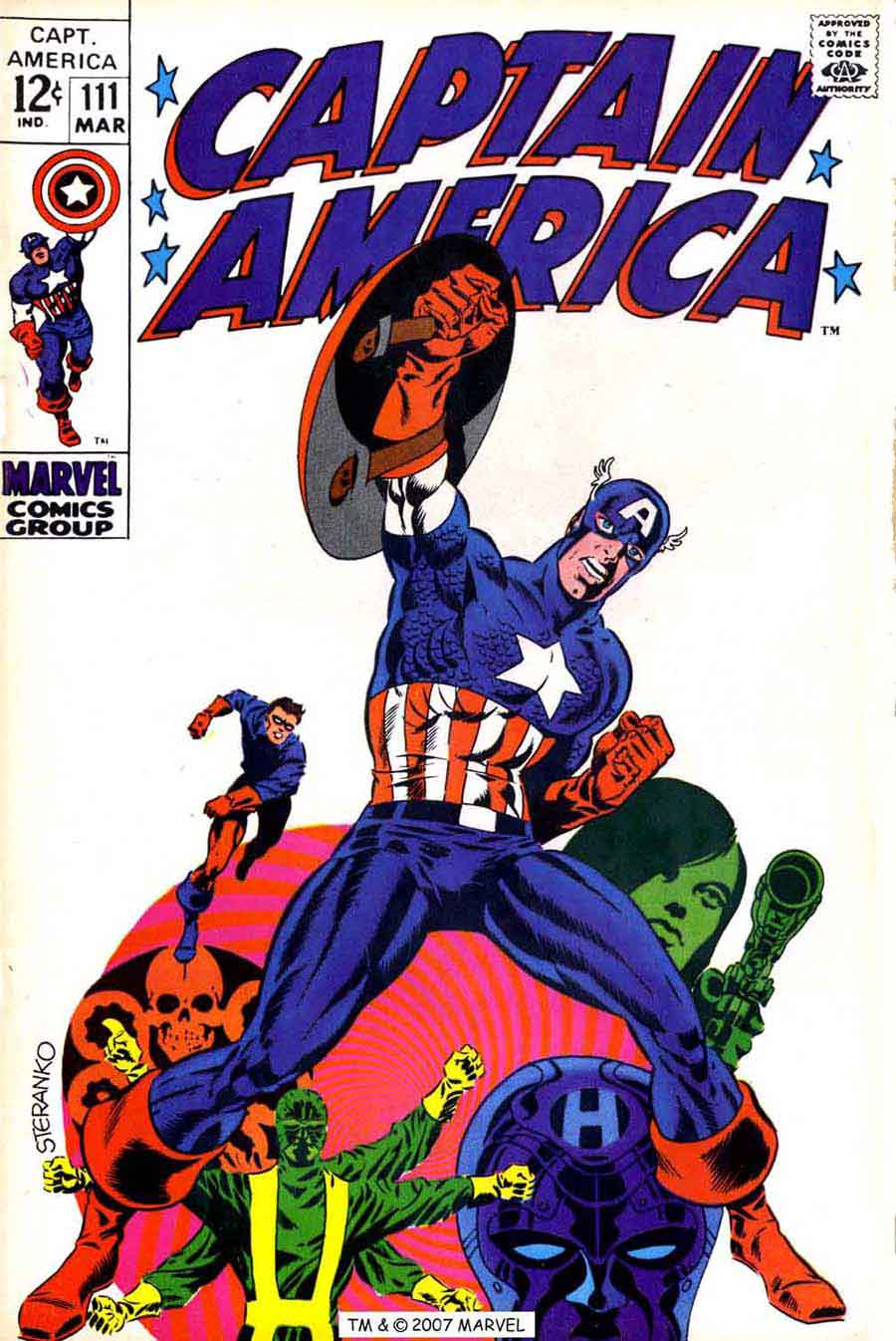 Captain America v1 111 marvel comic book cover art by Jim Steranko 900x1346
