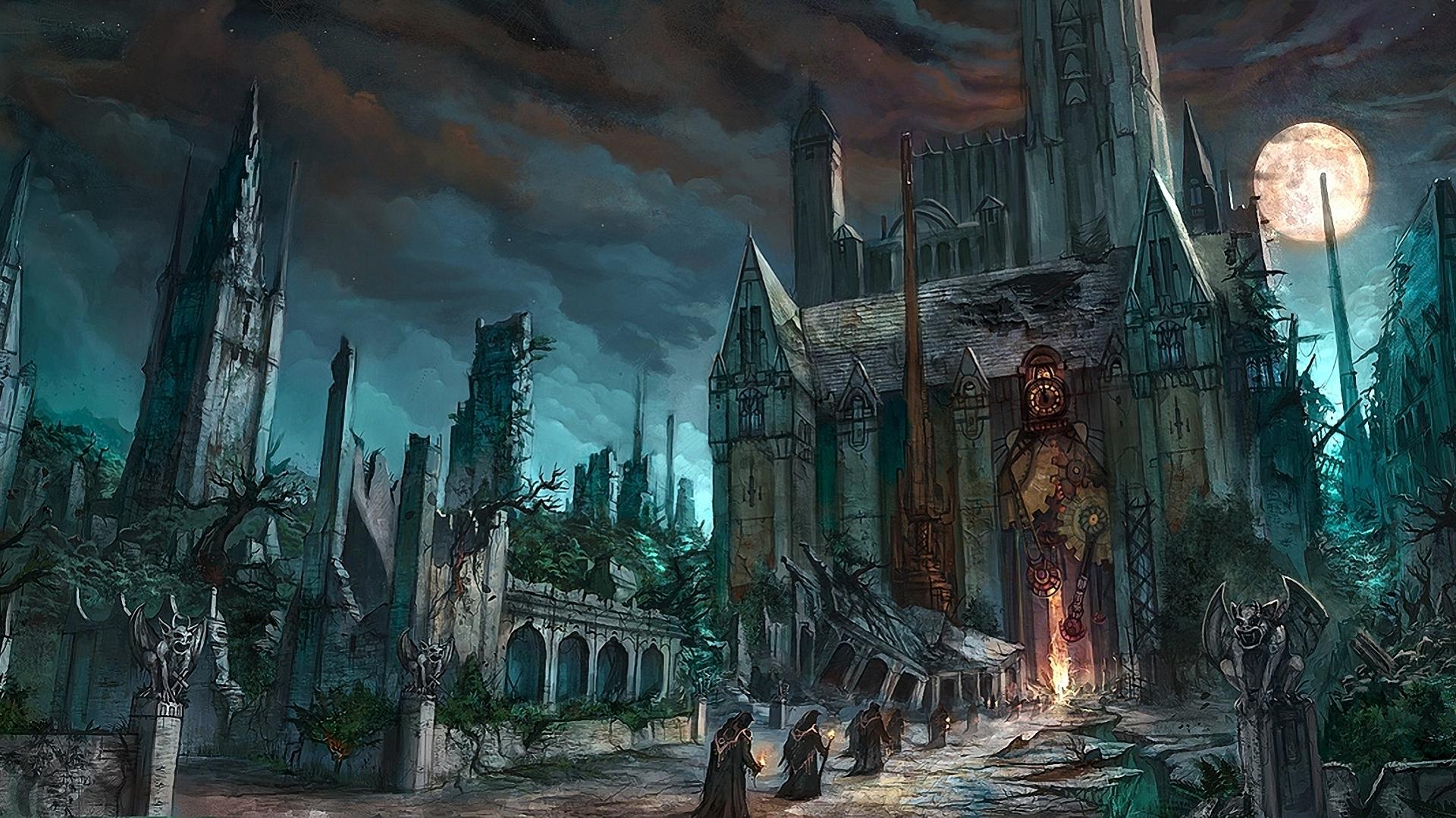 dark fantasy horror gothic art monk cathedral church wallpaper 1920x1080