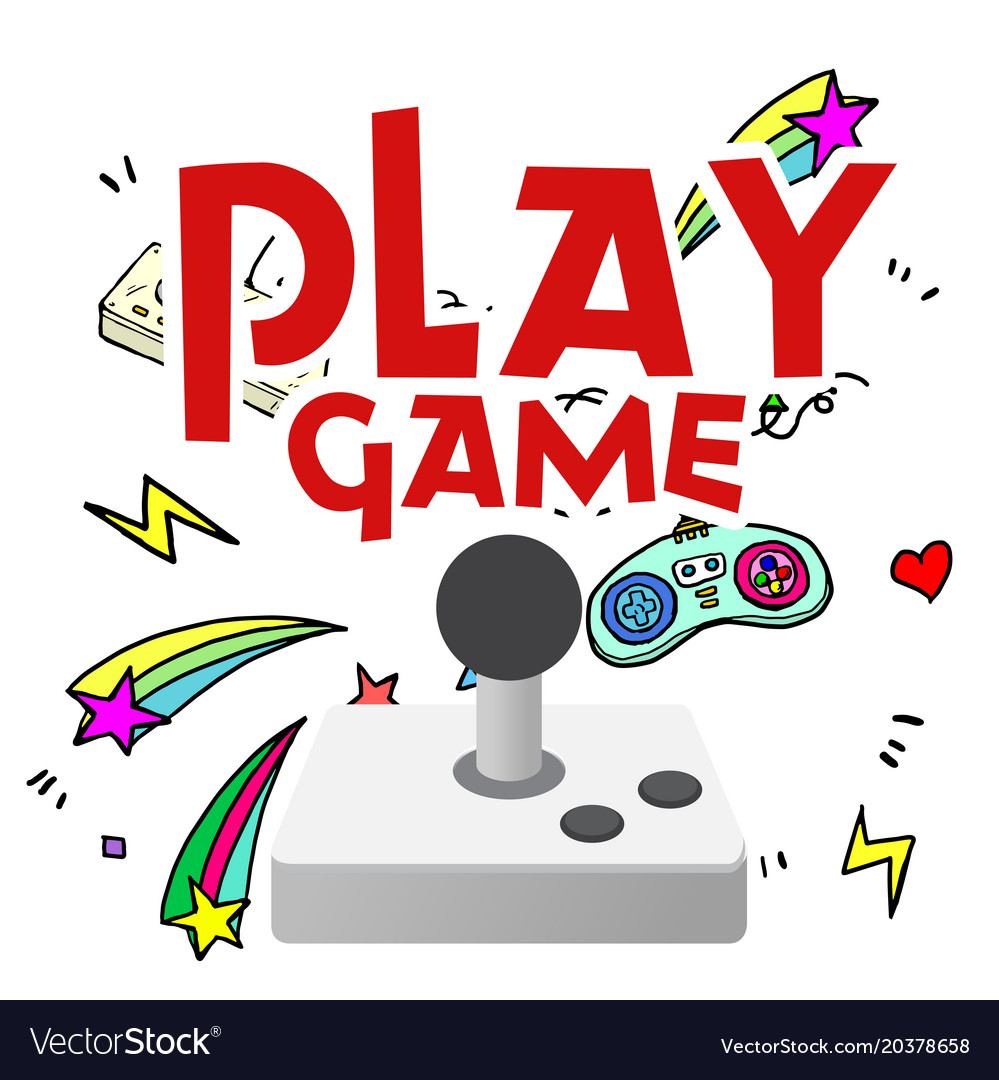 Play game joystick shooting star background Vector Image 999x1080