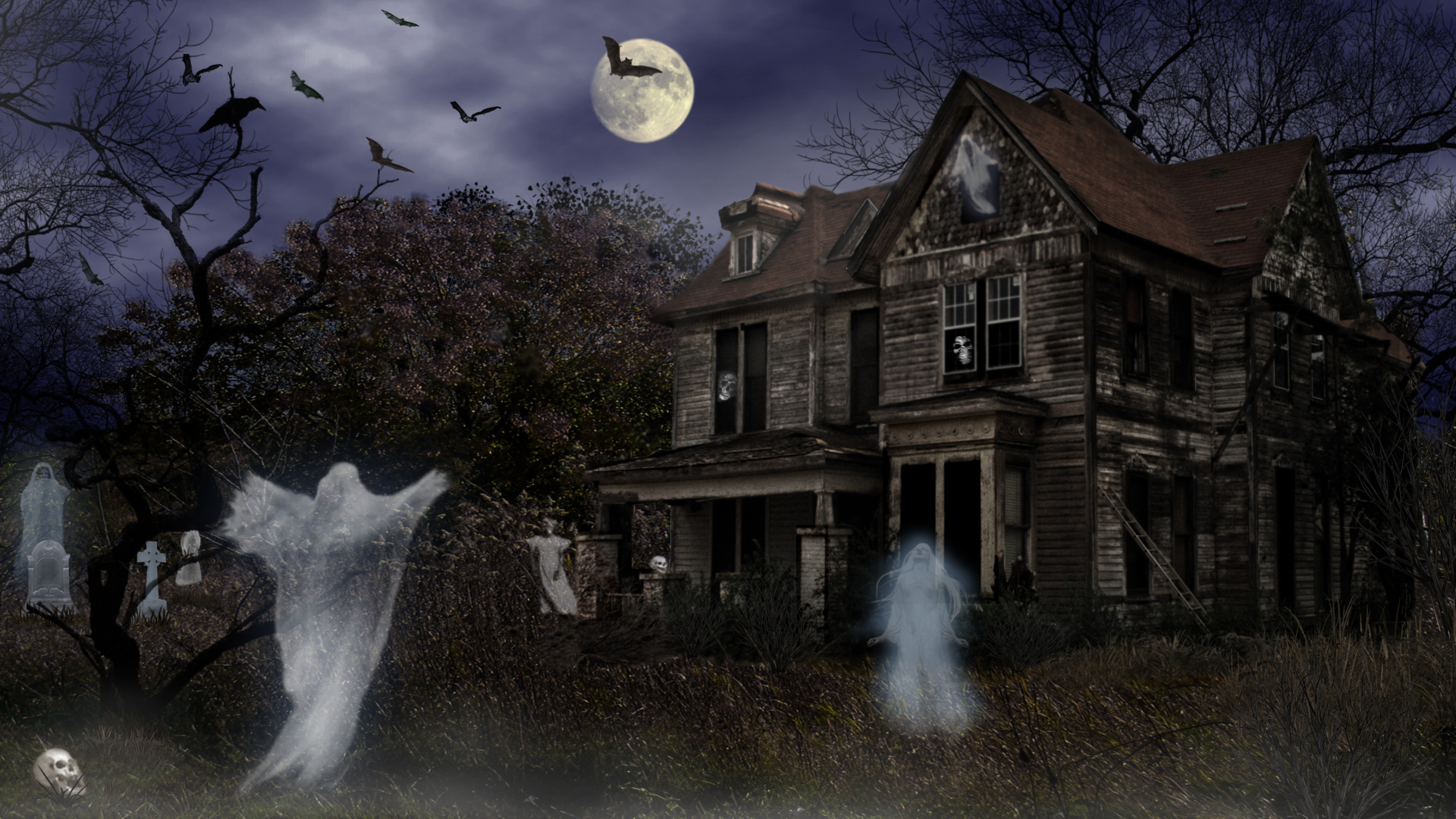 Halloween Haunted House Wallpapers 1920x1080