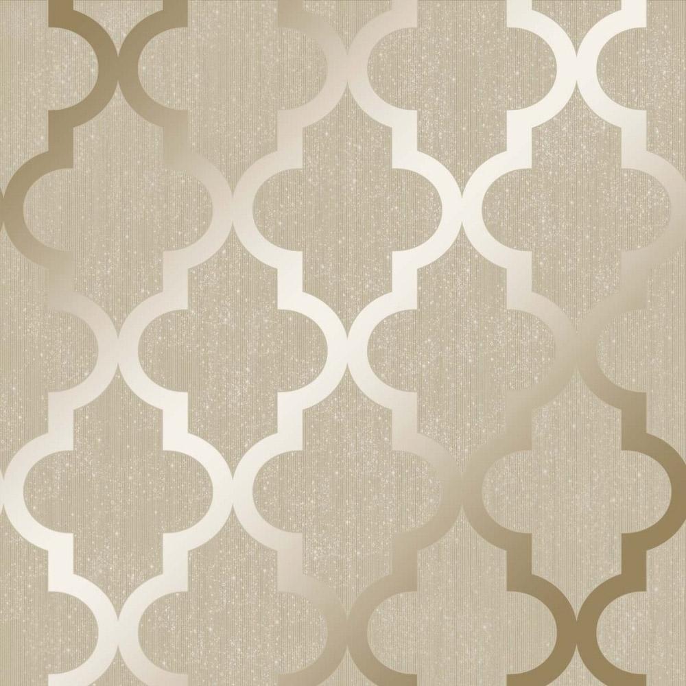 Henderson Interiors Camden Trellis Wallpaper Cream Gold 1000x1000