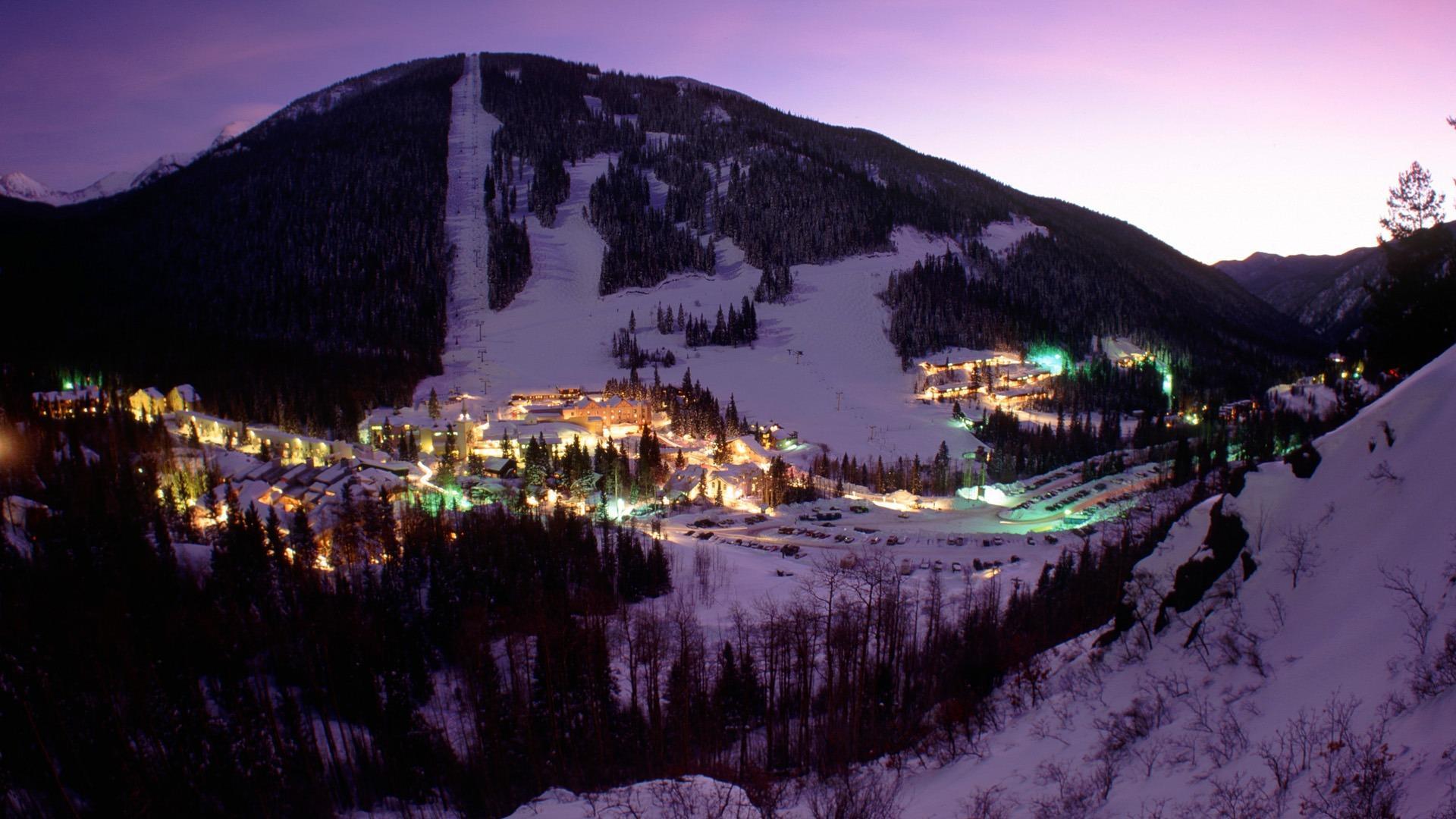 Ski Resort In Purple Light Hd Wallpaper Wallpaper List 1920x1080