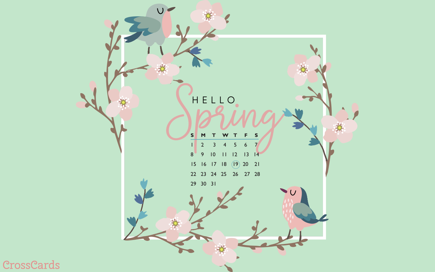 March 2020   Hello Spring Desktop Calendar  March Wallpaper 1440x900
