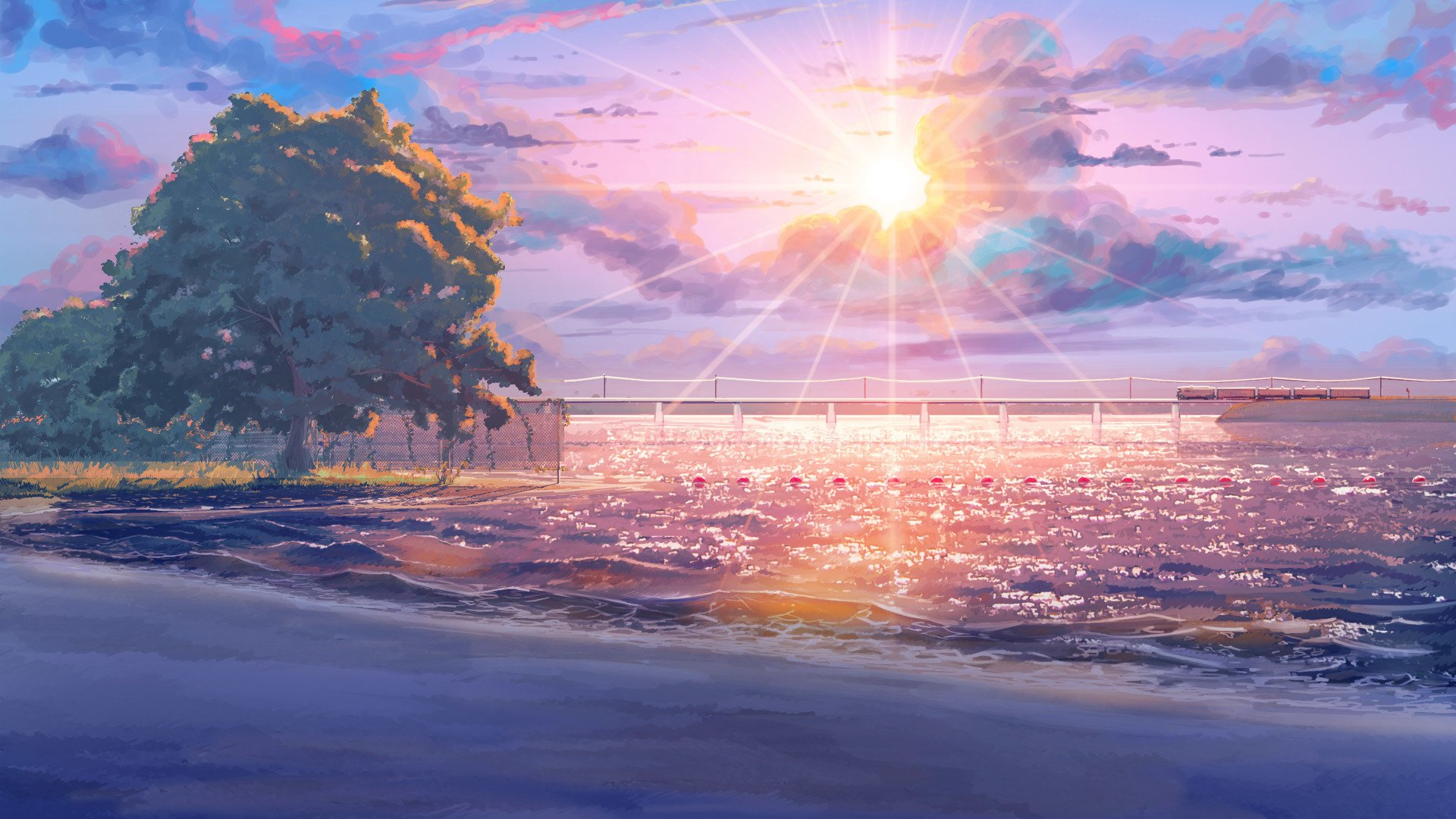 Free Download Beach Endless Summer Anime Sun Tree Sky Cloud Amazing 1920x1080 For Your Desktop Mobile Tablet Explore 48 Anime Beach Wallpapers Anime Beach Wallpapers Anime Backgrounds Anime Background