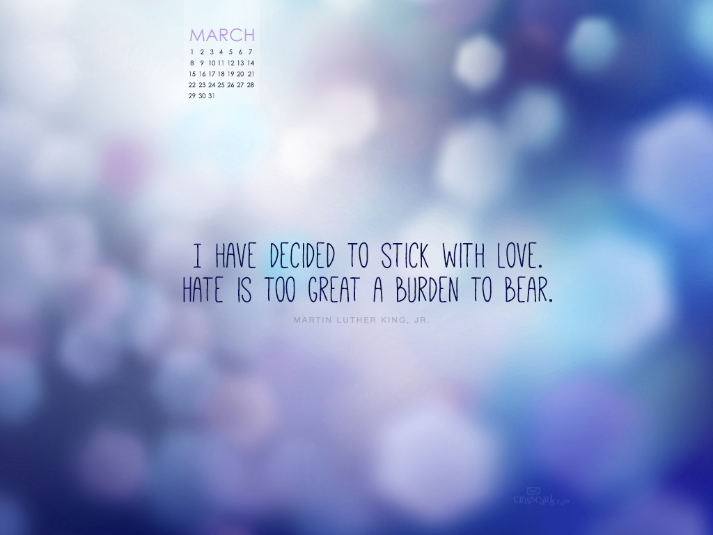 March 2015   Stick with Love Desktop Calendar  Monthly Calendars 1024x768