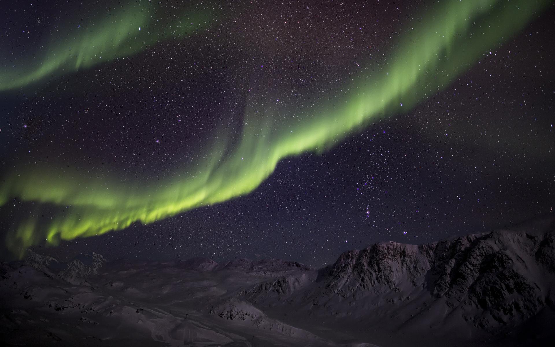 Wallpaper aurora borealis the northern lights night green snow 1920x1200