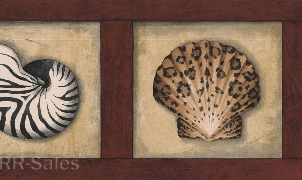 Print Sea Shells Nautical Bath Beach Wall Wallpaper Border eBay 1000x599