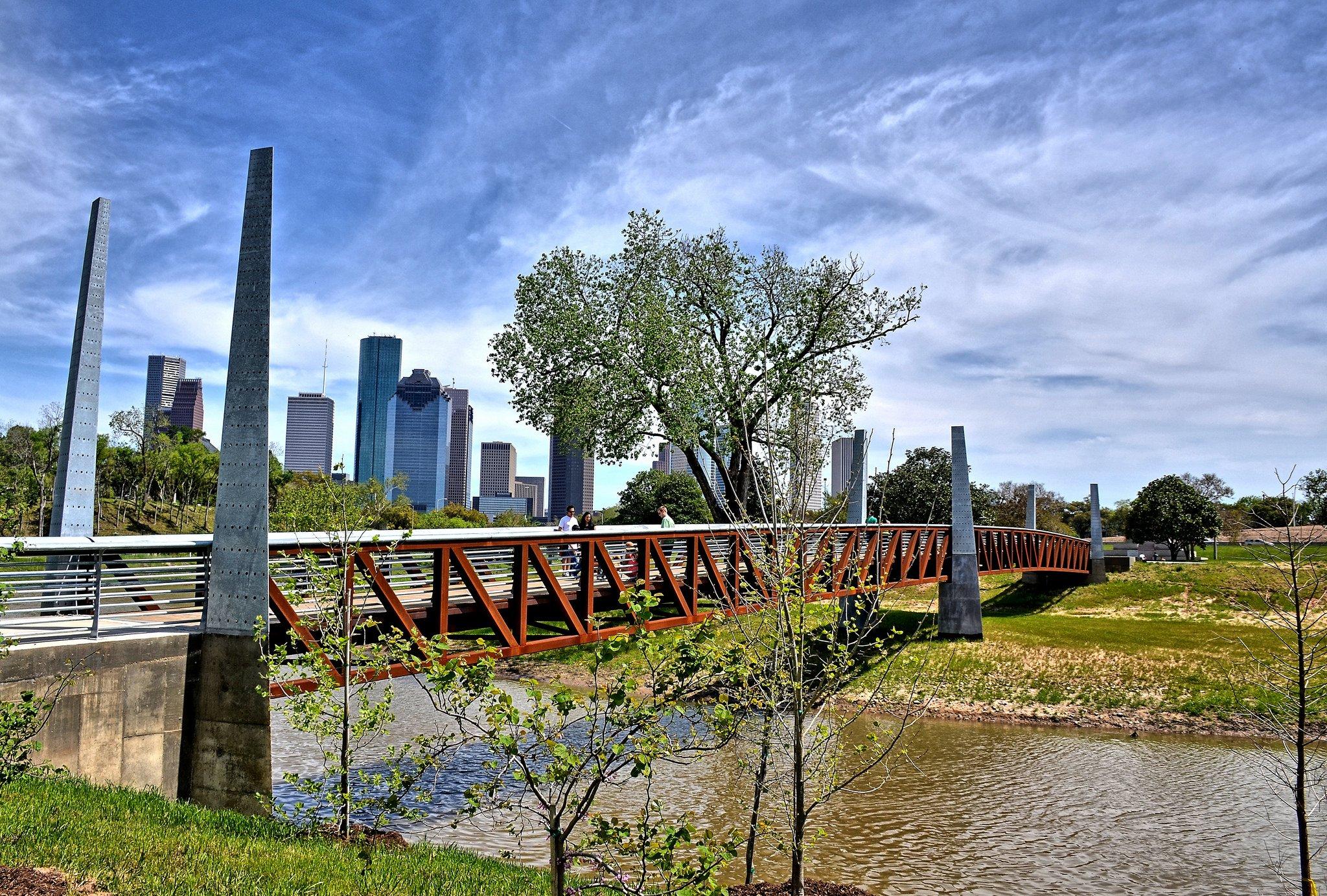 Houston architecture bridges cities City texas Night towers buildings 2048x1383