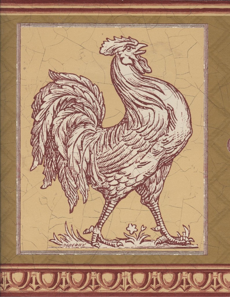 Wallpaper Border Country French Rooster Red Tan Olive eBay 794x1024