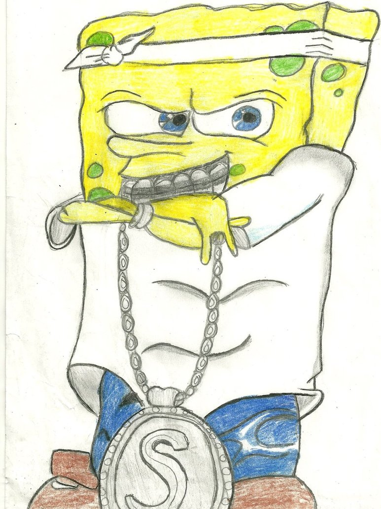 Spongebob gangster wallpaper with a gun
