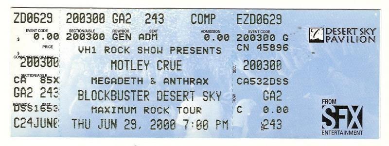 Megadeth Anthrax Full Concert Ticket 62900   Concert Memorabilia 800x301