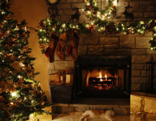 animated Christmas fireplace wallpapers 3d Xmas fireplace Images HD 600x467