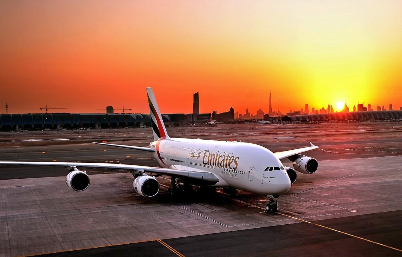 Wallpaper Sunset The sun The plane Airport Dubai A380 1332x850