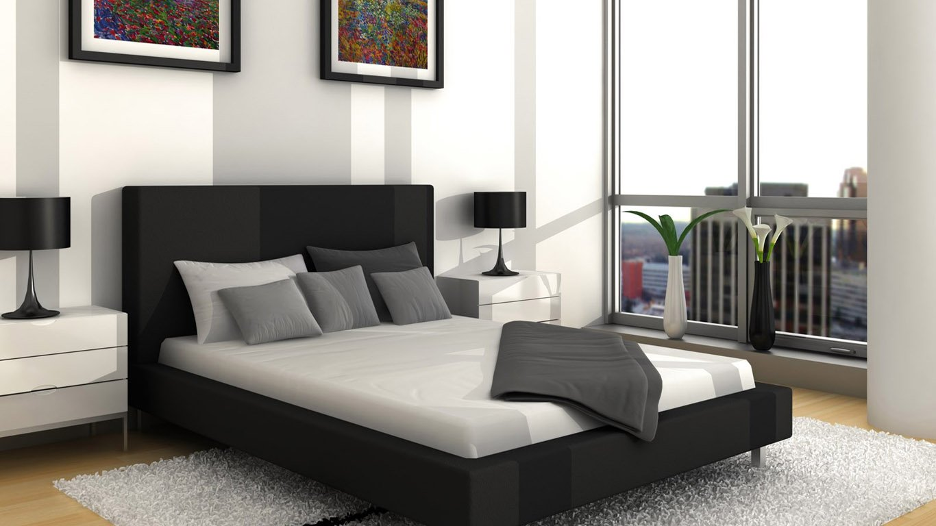 Best Design Wallpapers Black Grey White Modern Bedroom   Decoseecom 1366x768