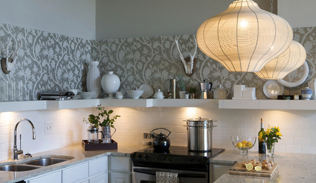 Wallpaper KItchen Backsplash Contemporary kitchen Heather Garrett 644x374