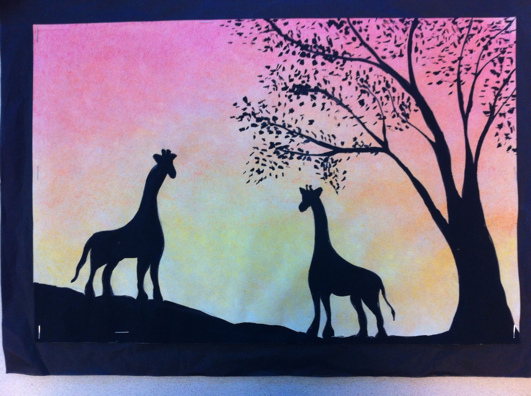 African animals landscape silhouette Background is done with 2048x1530