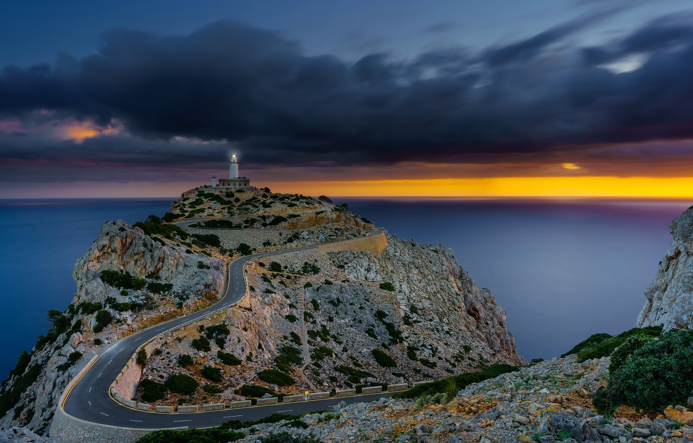 Wallpaper road sea the sky clouds stones rocks dawn coast 1332x850