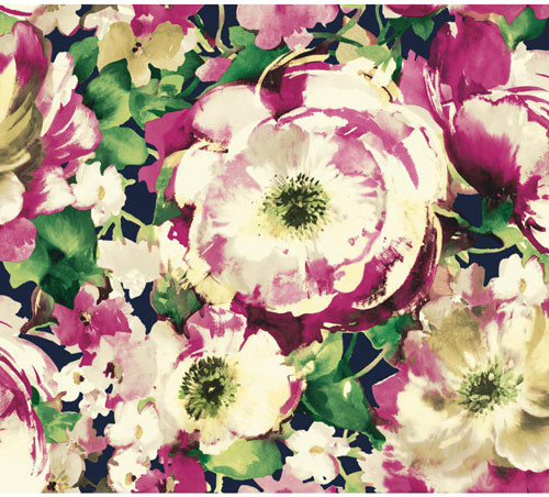 Carey Lind Watercolors Navy and Purple Watercolor Poppy Wallpaper 500x452