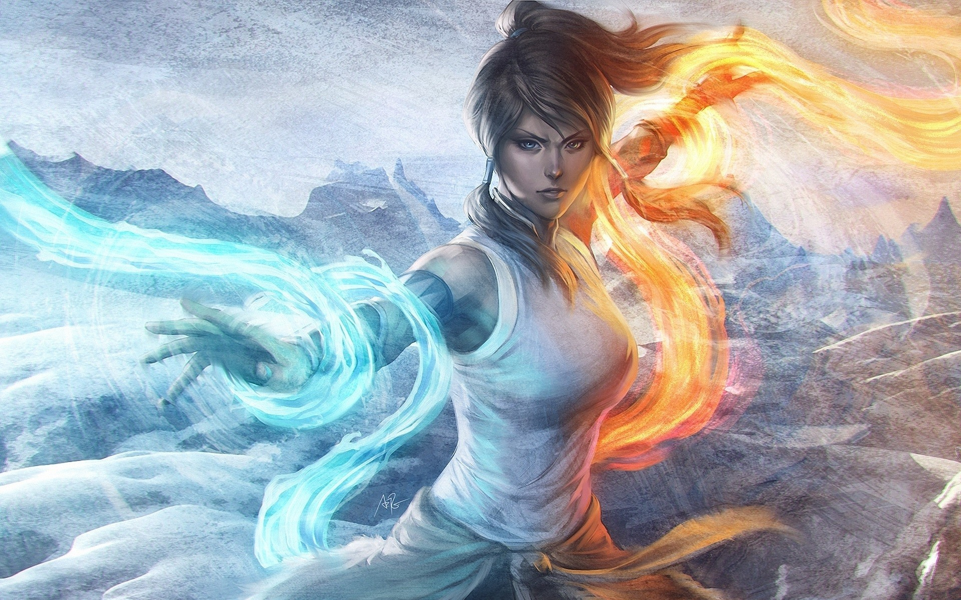 women magic digital art white dress Waterbender korra 1920x1200